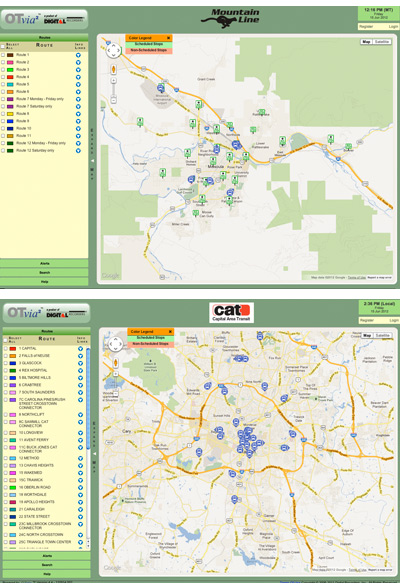 WHAT'S THE DIFFERENCE BETWEEN THESE NEARLY IDENTICAL BUS TRACKING SYSTEMS? The Mountain Line system in Missoula, Mont., (top) has been sued for patent infringement. Raleigh's Capital Area Transit (bottom) hasn't -- at least yet.